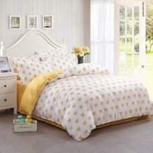 Yellow Polka Dots Cotton Blend Patterned Bedding Set
