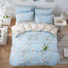 Sky Blue Floral Cotton Blend Patterned Bedding Set