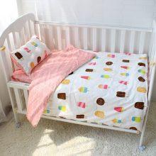 Baby Pink Cotton Crib Bedding Set