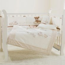 Teddy Bear Embroidery Crib Bedding Set