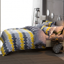 yellow-grey-stripe-bed-cover-set