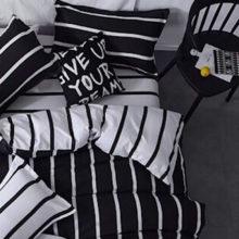 black white striped comforter set