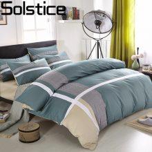 Solstice Home Textile Cross Stripes Style 100%cotton 4pcs Bedding Sets Fashion Casual Bed Linen Quilt/duvet Cover Bed Sheet