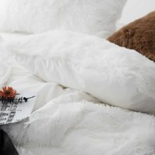 fluffy white bed set