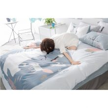 Bear and Fox Printed Summer Bedding Set Kids Gray Bedclothes Duvet Cover Set Comfortable 100% Cotton Bed Set with sheet