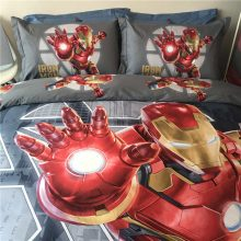 Marvel Iron Man bedding set twin size comforter bedlinens for kids bedroom cotton quilt cover flat bed sheets pillowcase 3/4/5pc