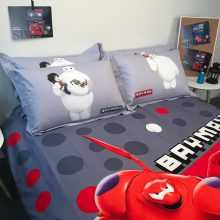 disney hero baymax comforter bedding set queen size 100% cotton quilt cover for boy red grey linens 3d twin full size bed spread