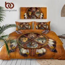 BeddingOutlet Wolf Dreamcatcher Bedding Set King Duvet Cover 3D Animal Tribal Bedroom Bedspreads Lion Tiger Leopard Bed Set