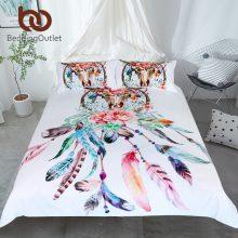 BeddingOutlet Floral Dreamcatcher Bedding Set King Hipster Feathers Skull Duvet Cover Bohemian Gothic Bedclothes Multi Colors