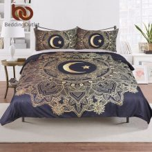 BeddingOutlet Golden Mandala Duvet Cover Black Flowers Star Moon Bedding Set Dark Blue Soft Quilt Cover Single 3 Pcs Bed Cover