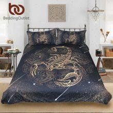 BeddingOutlet Gold Scorpion Bedding Set Queen Meteor Scorpio Duvet Cover Constellation Bed Set Bohemian Print Black Bedclothes