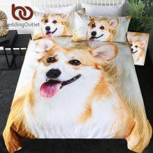 BeddingOutlet Corgi Bedding Set Pet Dog Kids Duvet Cover 3D Fur Print Brown White Bed Linen Lovely Puppy Bedspreads Dropshipping