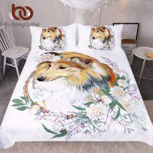 BeddingOutlet Sheepdog Bedding Set Cartoon Lovely Collie Duvet Cover Set for Kids Floral Home Textiles 3-Piece Leaf Bedclothes