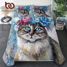 BeddingOutlet Floral Cat Duvet Cover Twin Flower Wreath Bedding Set Oil Painting Bedspread 3pcs Animal 3D Print Comforter Cover