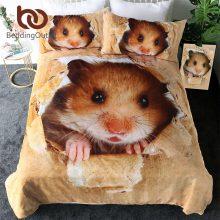 BeddingOutlet Hamster Bedding Set Papery Printing Duvet Cover 3D Vivid Brown Mouse Bed Linen Lovely Kids Home Textiles 3pcs