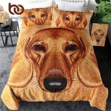 BeddingOutlet 3D Dachshund Bedding Set Brown Dog Duvet Cover Set Vivid Pet Print Home Textiles Animal Fur Bed Linen 3pcs King