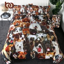 BeddingOutlet 3D Dog Bedding Set Kids Duvet Cover Set Pet Husky Bulldog Home Textiles 3-Piece Animal Brown Bedclothes Wholesale
