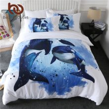 BeddingOutlet Orcinus Orca Duvet Cover Set Killer Whales Bedspreads Marine Life Bedding Set Ocean Blue Watercolor Bed Cover 3pcs