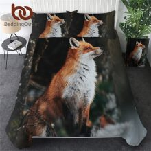 BeddingOutlet Fox Bedding Set 3D Print Duvet Cover Wild Animal Home Textiles 3-Piece Tribal Bedspread Floral Bed Cover Drop Ship