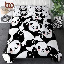 BeddingOutlet Panda Home Textile Duvet Cover With Pillow Case Cartoon Rainbow Bedding Set Animal Kids Teen Bed Linens Queen 3Pcs