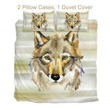 BeddingOutlet Tribal Wolf Bedding Set Queen Watercolor Striped Duvet Cover Set Animal Home Textiles 3pcs Black White Bedclothes